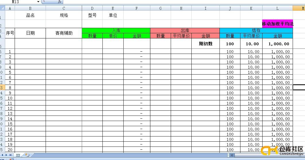 原材料库存台账EXCEL模版 移动加权平均法 ,适合原材料仓管用 仓